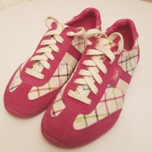Coach Pink White Green and Blue Navy Sneakers